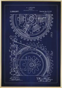Patenttegning - Gear - Blå