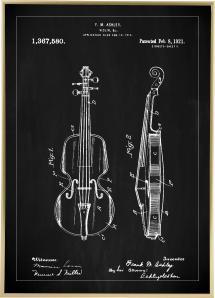 Patenttegning - Violin - Sort