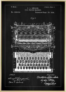 Patenttegning - Skrivemaskine - Sort