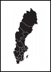 Sverigeskort Sort