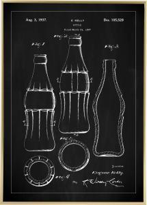 Patenttegning - Coca Cola flaske - Sort
