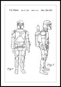Patenttegning - Star Wars - Boba Fett - Hvid