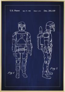 Patenttegning - Star Wars - Boba Fett - Blå