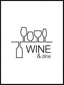 Wine & dine - Hvid med Sort tryk