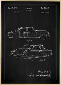 Patenttegning - Cadillac I - Sort