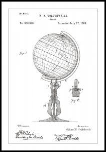 Patenttegning - Jordglobe - Hvid