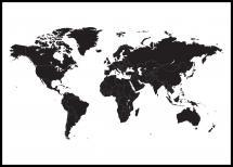 Verdenskort - Sort