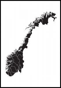 Kort - Norge - Sort
