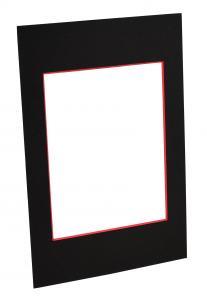Passepartout Sort (rød kerne) - Bestilt efter mål