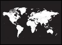 Verdenskort Hvid Med Sort baggrund - 21x29,7 cm (A4)