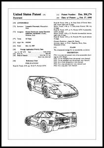 Patenttegning - Ferrari F40 I