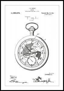 Patenttegning - Lommeur - Hvid