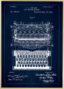 Patenttegning - Skrivemaskine - Blå