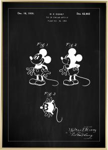Patenttegning - Disney - Mickey Mouse - Sort