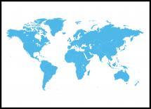 Verdenskort Blå