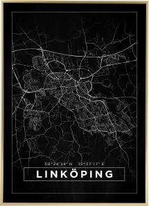 Kort - Linköping - Sort