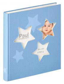 Estrella Babyalbum Blå - 28x30,5 cm (50 Hvide sider / 25 blade)