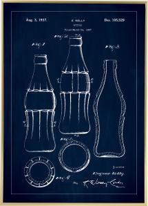 Patenttegning - Coca Cola flaske - Blå